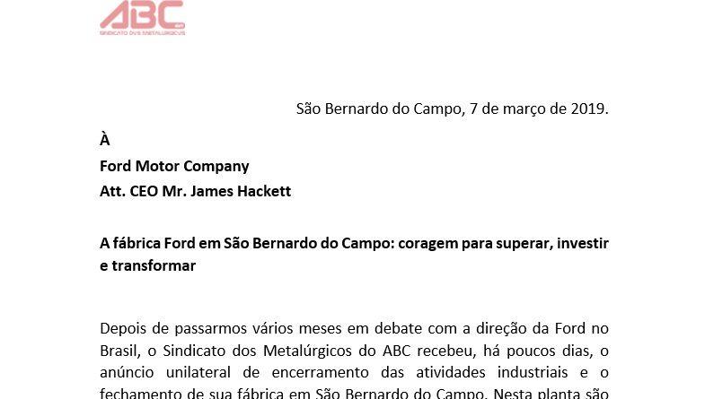 Carta à Ford Global